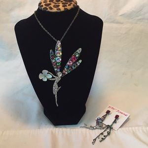 NWT Betsey Johnson fairy necklace & earrings set